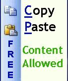 copy paste content allowed